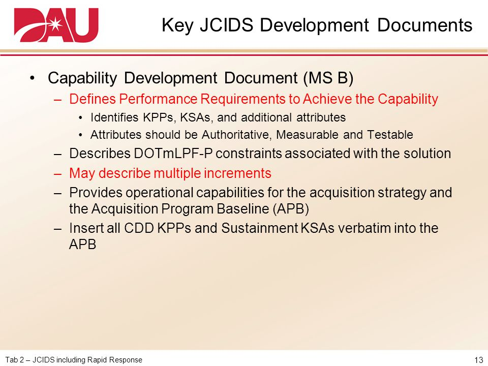 Key JCIDS Development Documents
