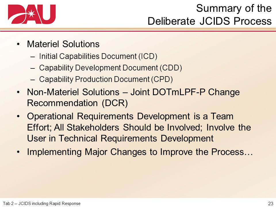 Summary of the Deliberate JCIDS Process