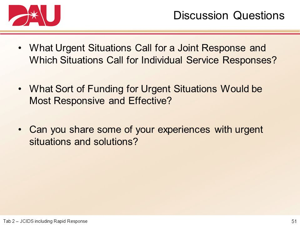 Discussion Questions What Urgent Situations Call for a Joint Response and Which Situations Call for Individual Service Responses