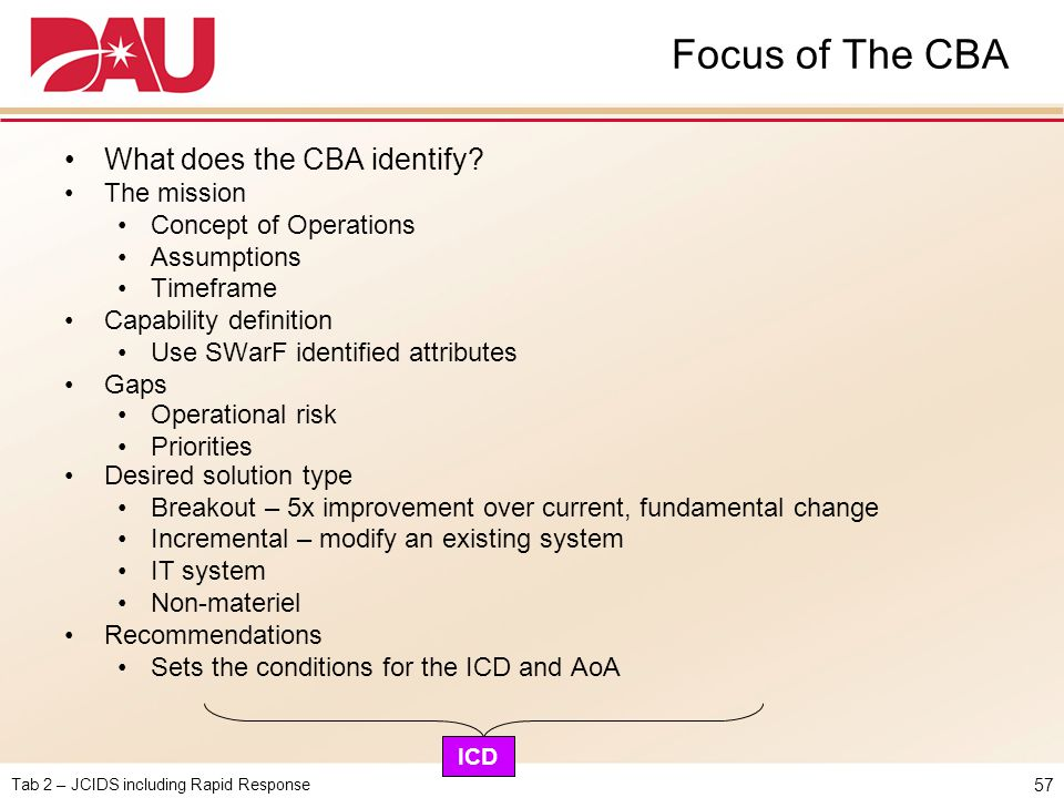 Focus of The CBA What does the CBA identify The mission