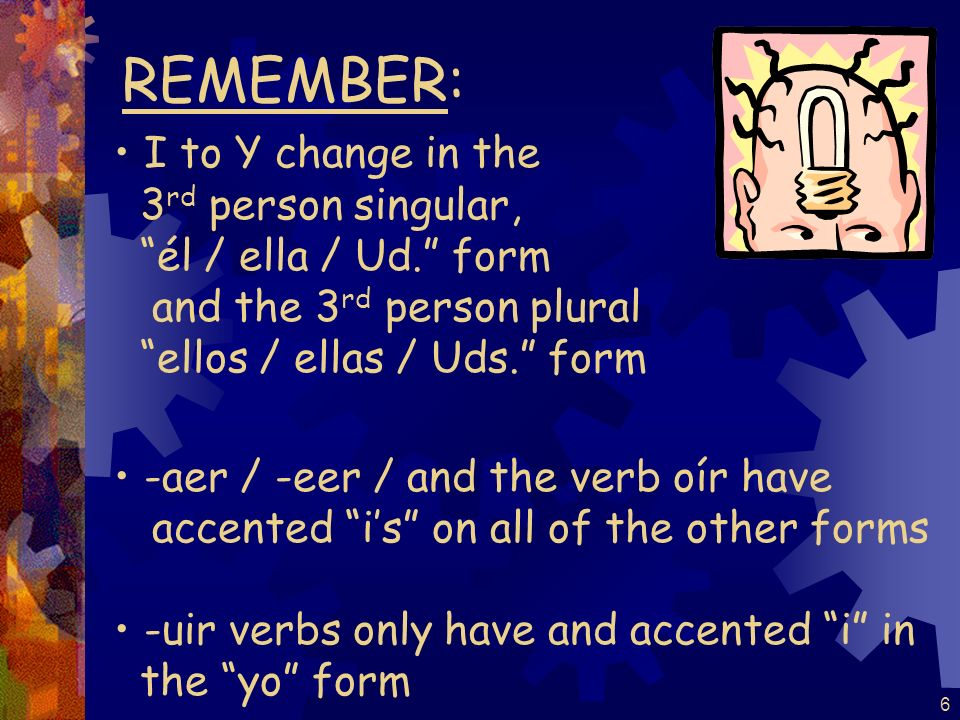 REMEMBER: I to Y change in the 3rd person singular,