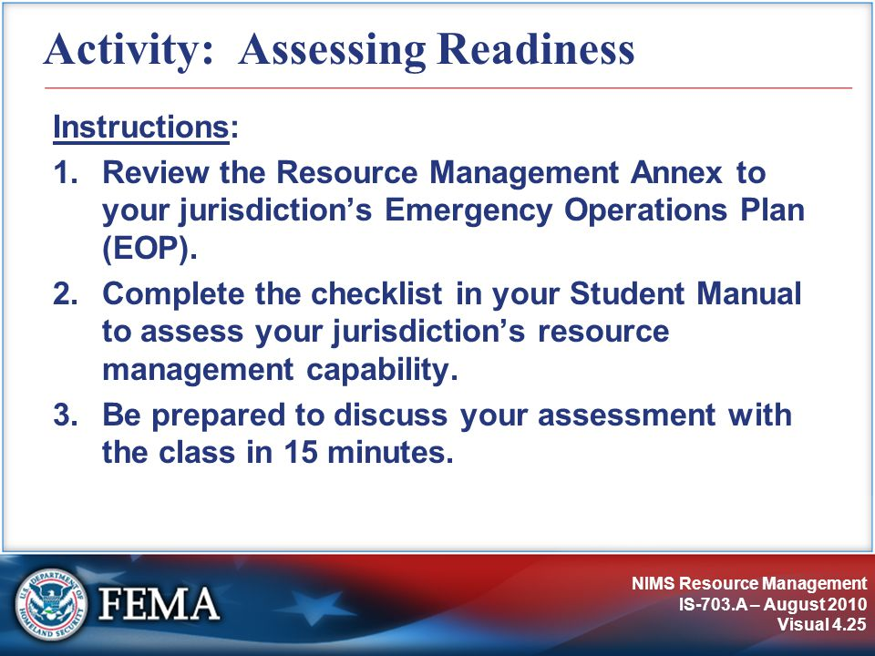 Activity: Assessing Readiness