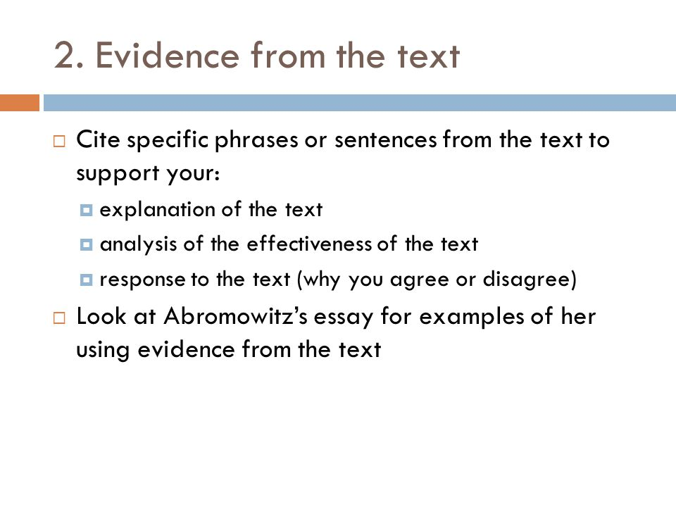 How To Write A Thesis Statement For A Essay Evidence From The Text Cite Specific Phrases Or Sentences From The Text To  Support Thesis Statement Examples For Argumentative Essays also English Debate Essay Summaryresponse Essay  Ppt Video Online Download High School Essay Topics