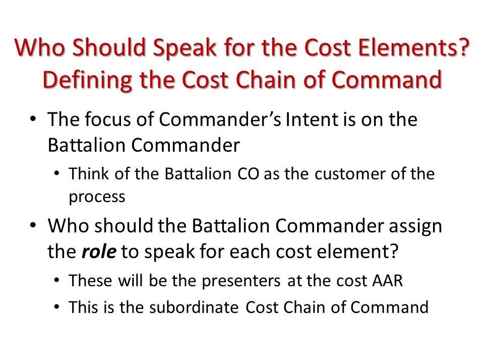 Who Should Speak for the Cost Elements
