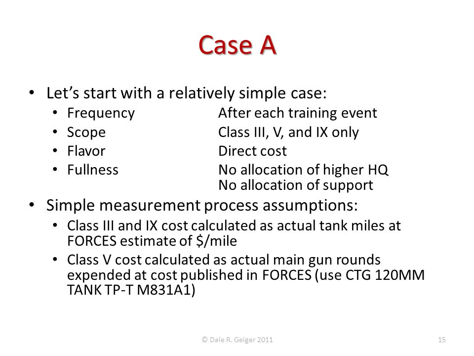 Case A Let's start with a relatively simple case: