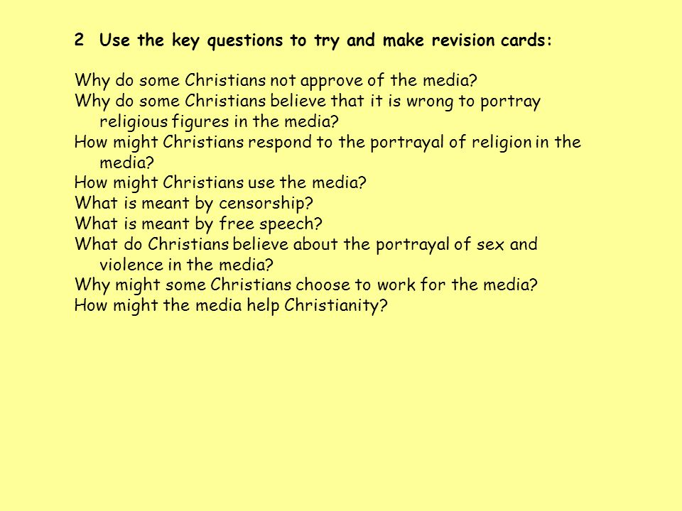 Use the key questions to try and make revision cards: