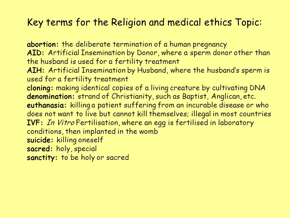 Key terms for the Religion and medical ethics Topic: