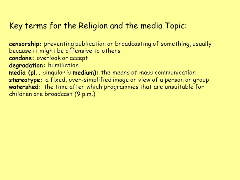 Key terms for the Religion and the media Topic: