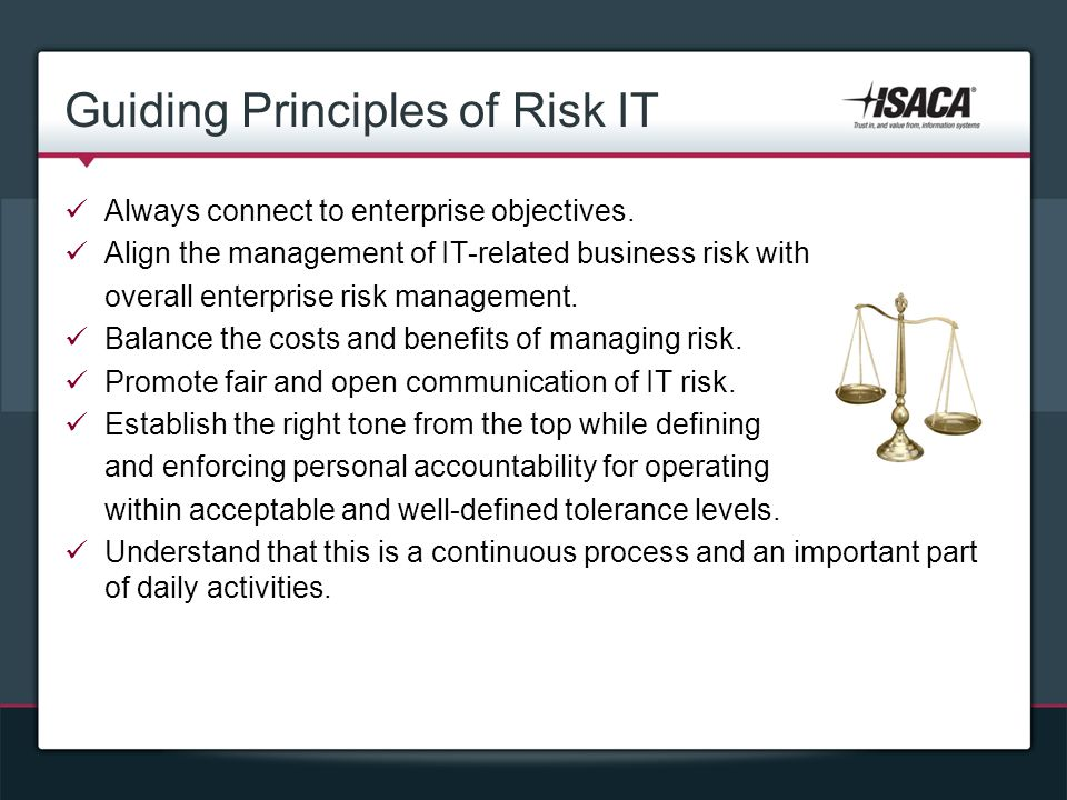 Guiding Principles of Risk IT