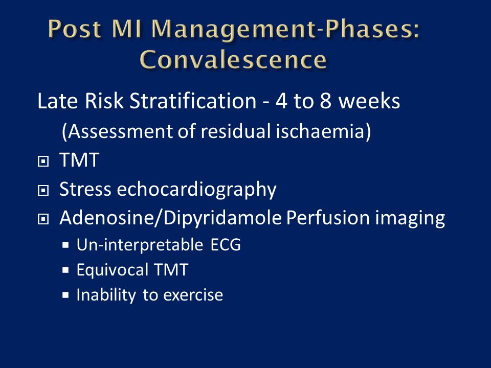 Post MI Management-Phases: Convalescence