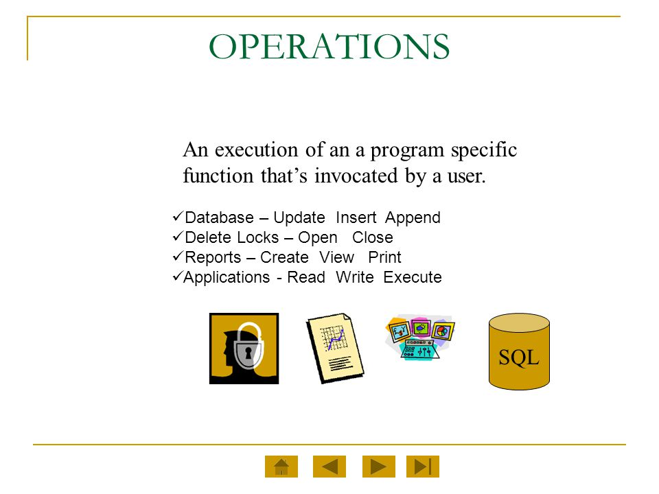 OPERATIONS An execution of an a program specific function that's invocated by a user. Database – Update Insert Append.