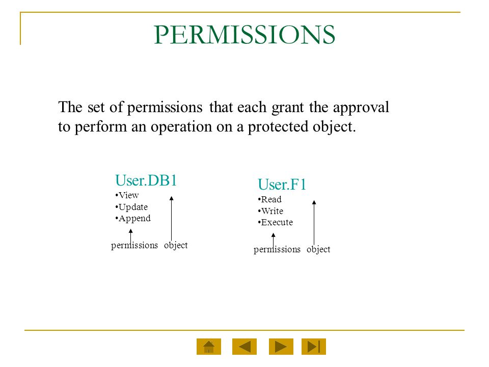 PERMISSIONS The set of permissions that each grant the approval to perform an operation on a protected object.