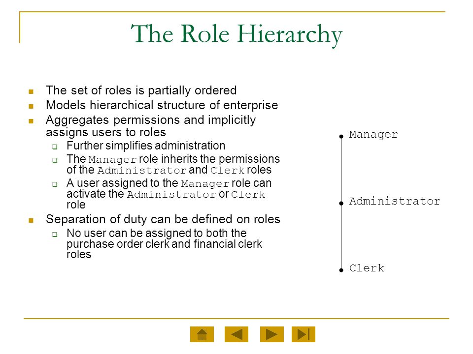 The Role Hierarchy The set of roles is partially ordered