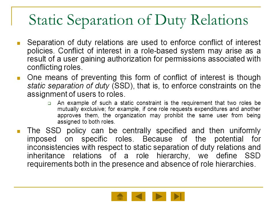 Static Separation of Duty Relations
