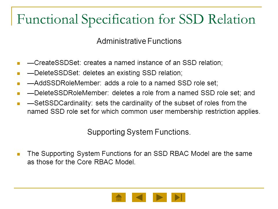 Functional Specification for SSD Relation