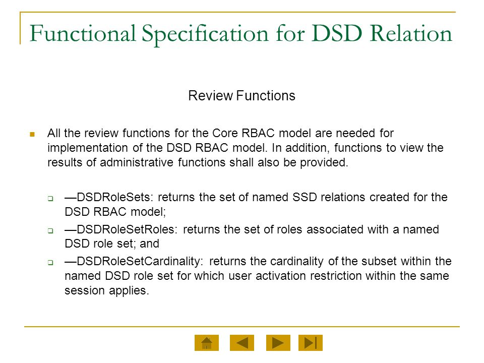 Functional Specification for DSD Relation