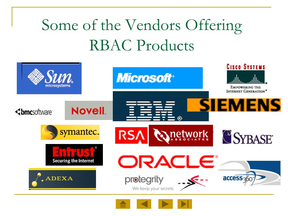 Some of the Vendors Offering RBAC Products