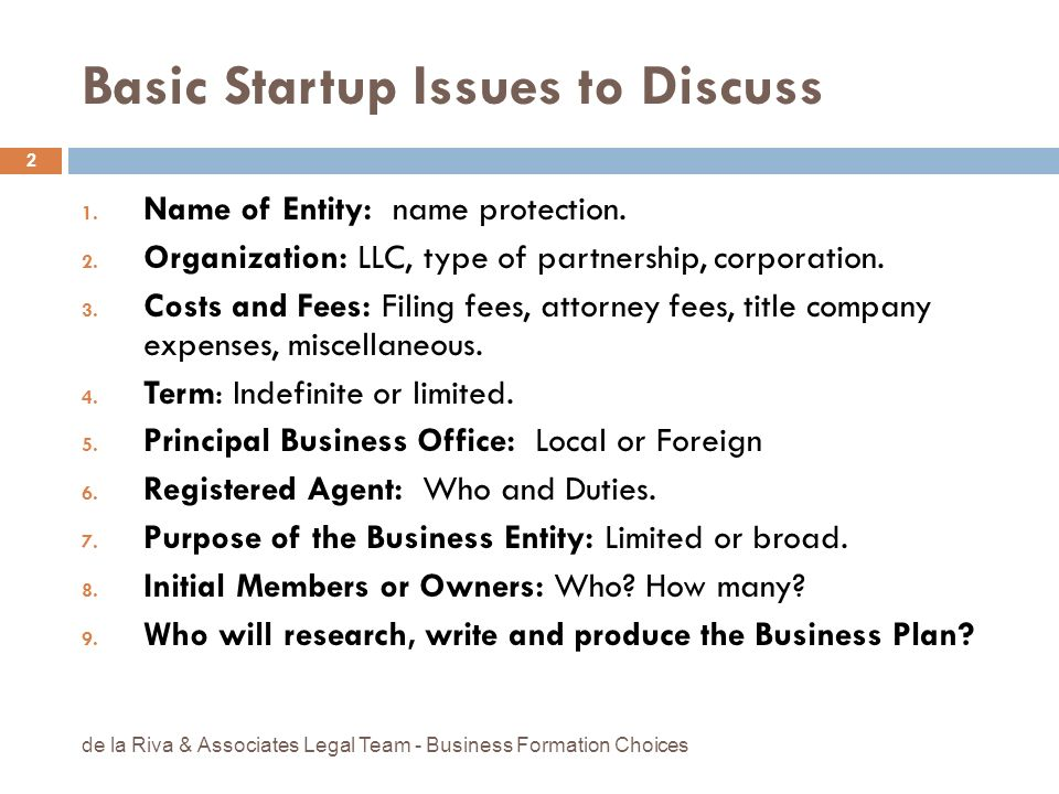 Basic Startup Issues to Discuss