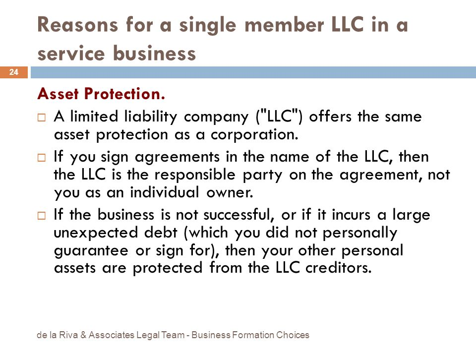 Reasons for a single member LLC in a service business