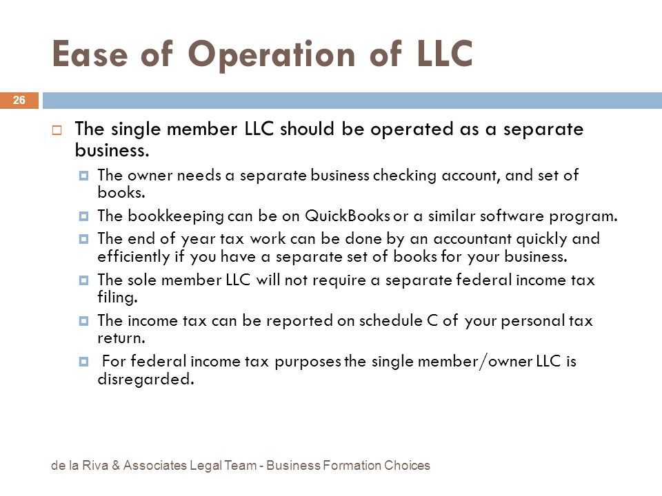 Ease of Operation of LLC