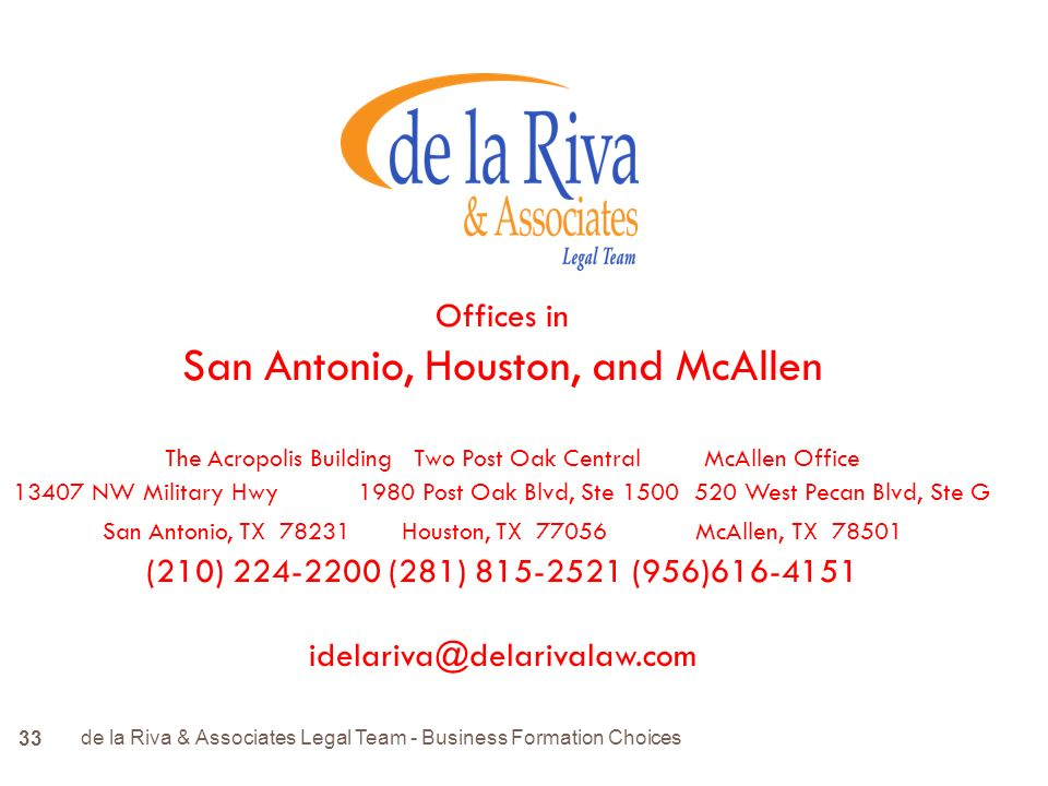 Offices in San Antonio, Houston, and McAllen The Acropolis Building Two Post Oak Central McAllen Office NW Military Hwy 1980 Post Oak Blvd, Ste West Pecan Blvd, Ste G San Antonio, TX Houston, TX McAllen, TX (210) (281) (956)