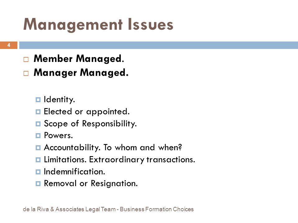 Management Issues Member Managed. Manager Managed. Identity.