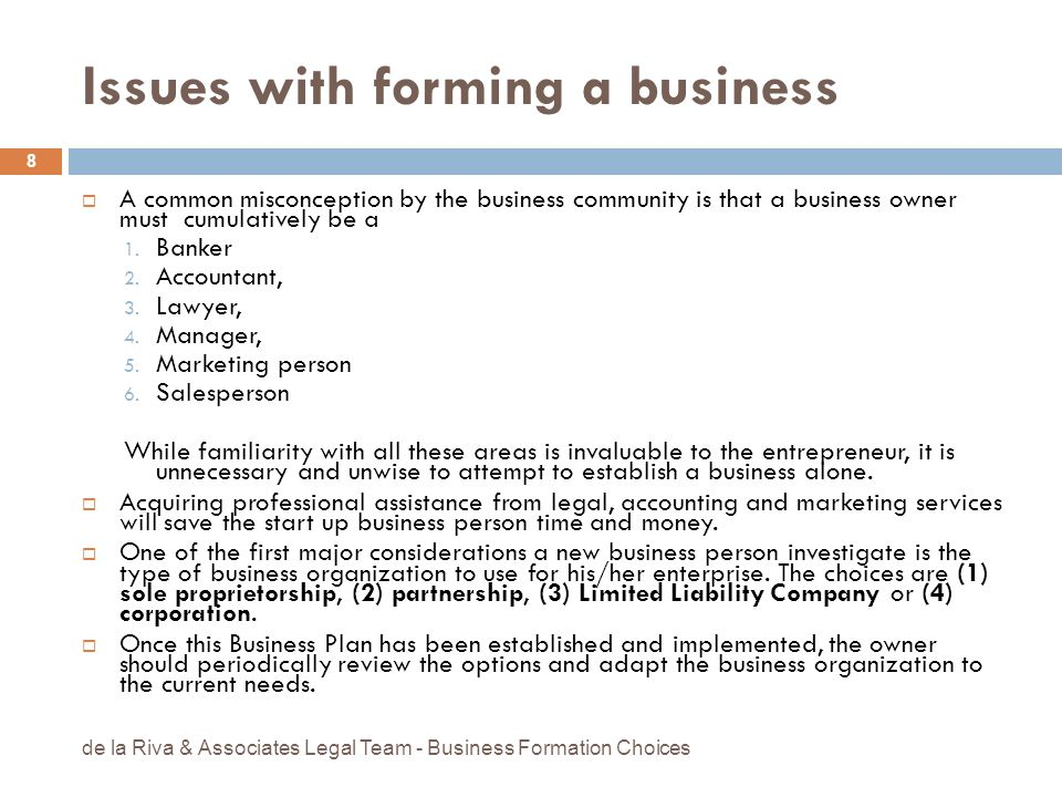 Issues with forming a business