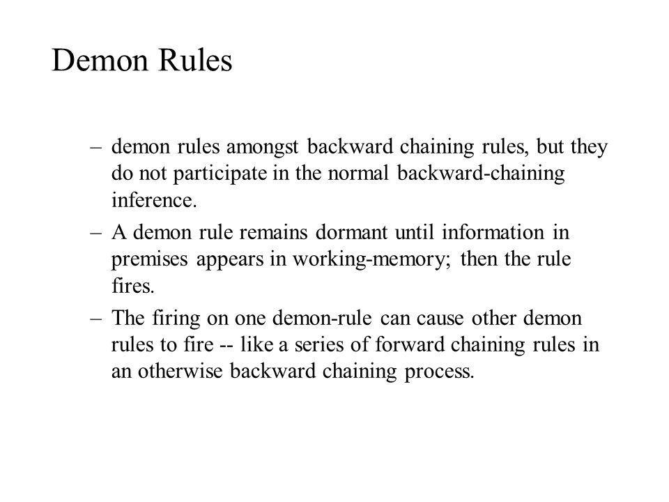 Demon Rules demon rules amongst backward chaining rules, but they do not participate in the normal backward-chaining inference.