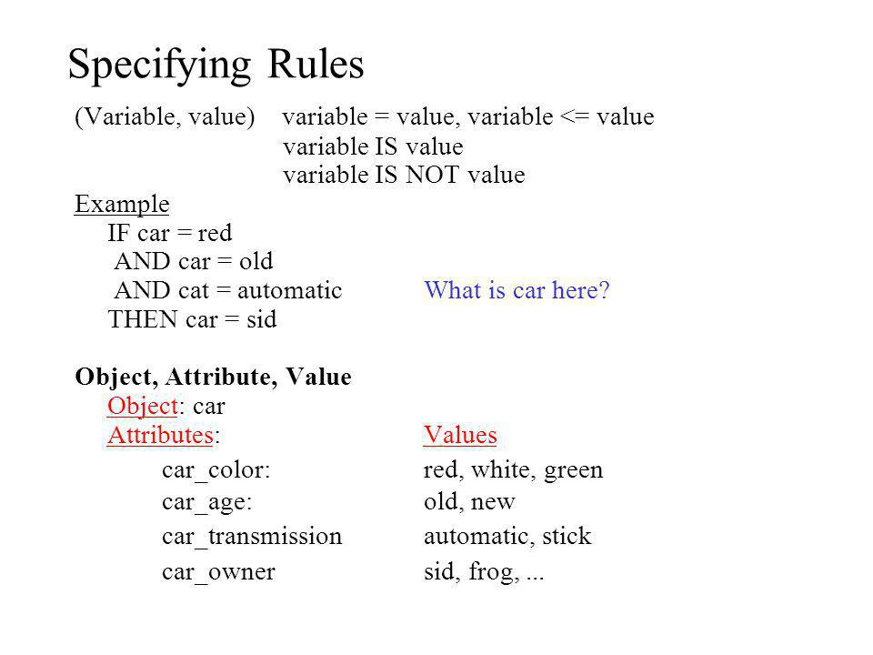 Specifying Rules (Variable, value) variable = value, variable <= value. variable IS value. variable IS NOT value.