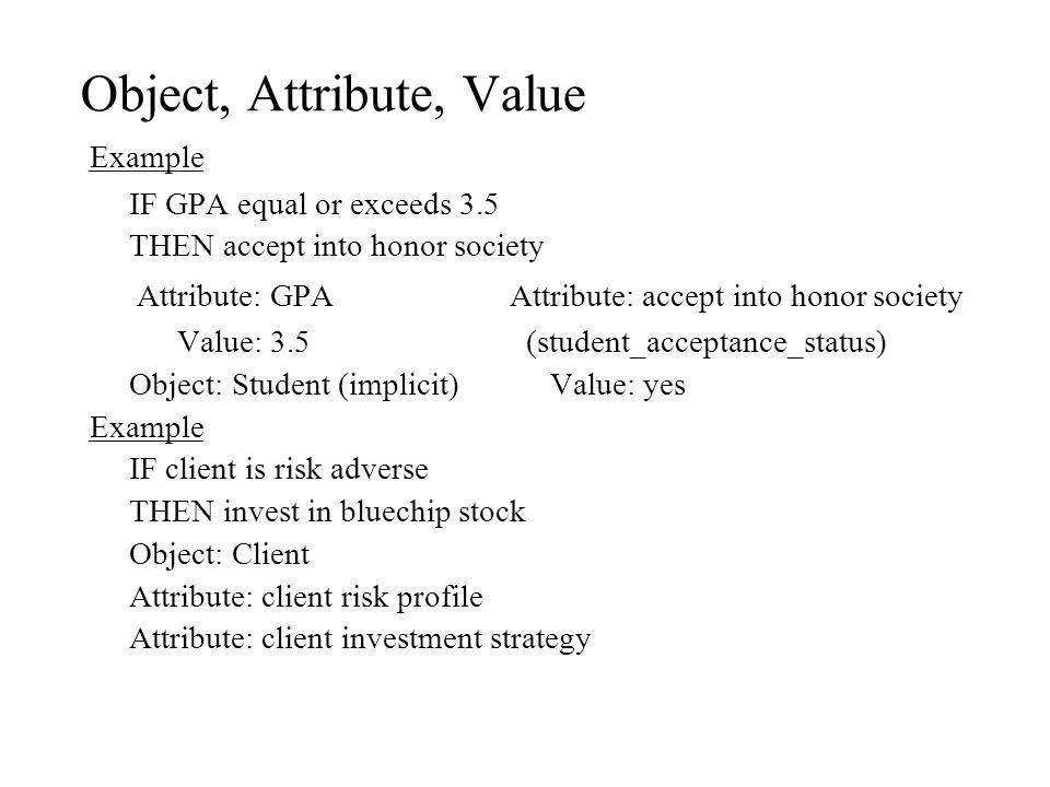 Object, Attribute, Value