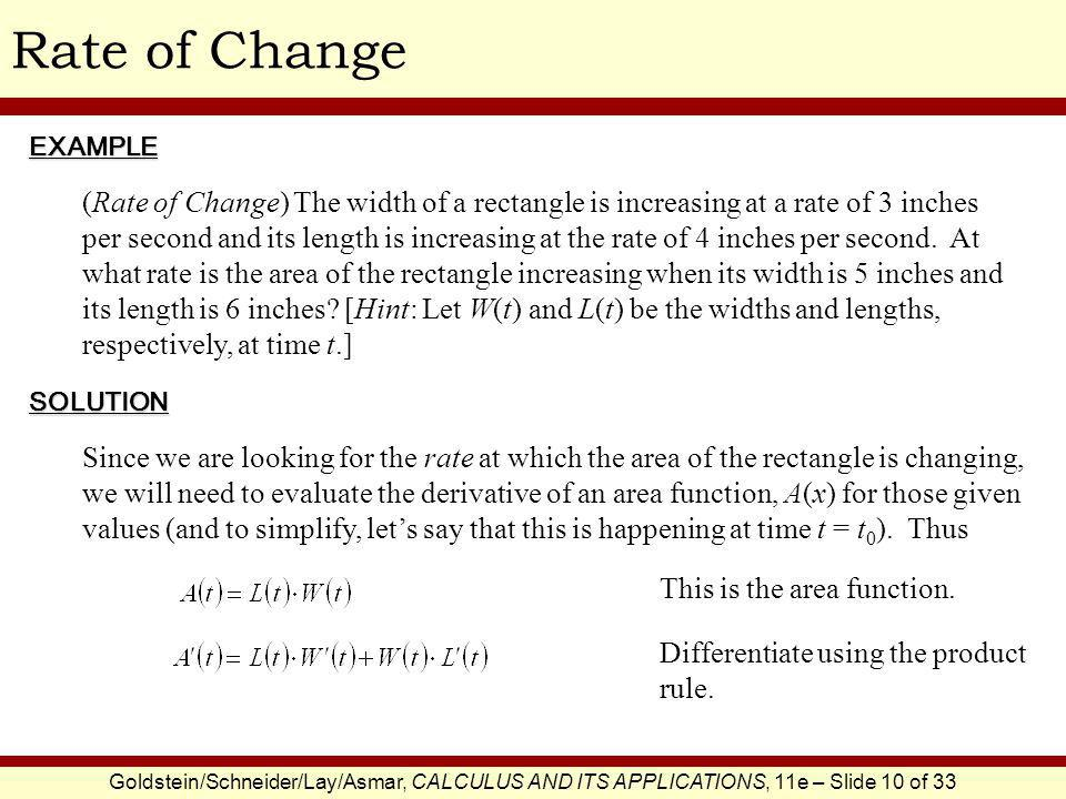 Rate of Change EXAMPLE.