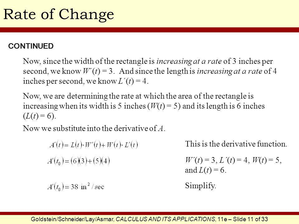Rate of Change CONTINUED.