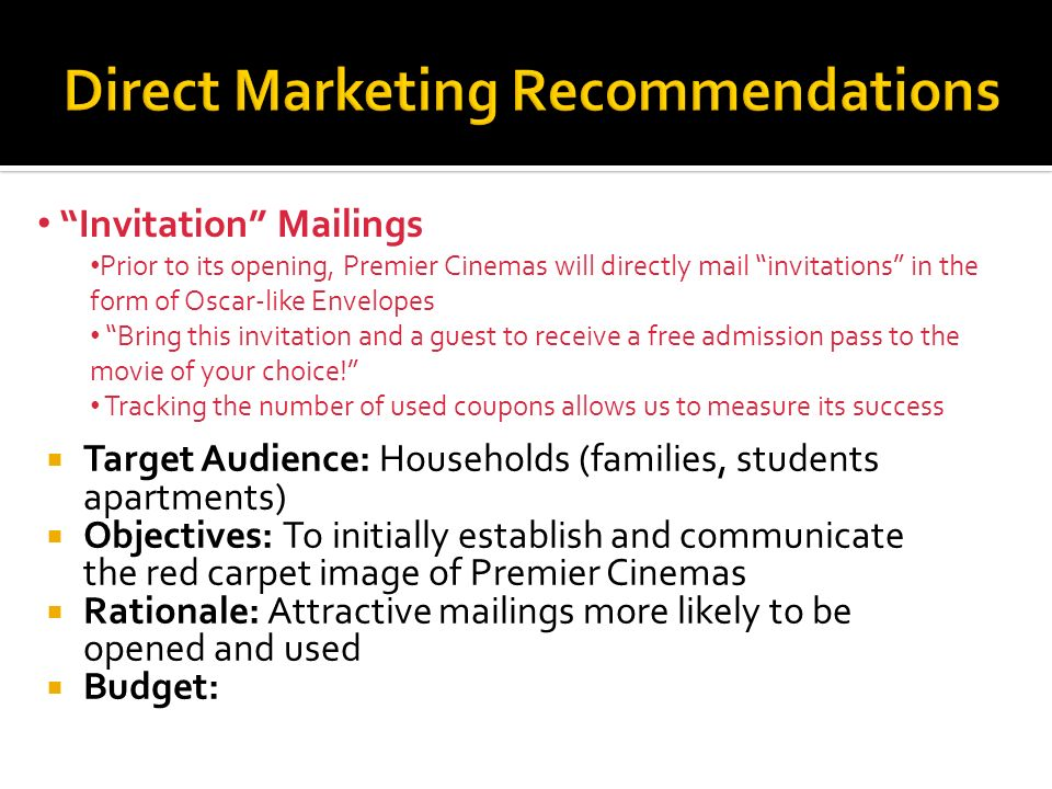 Direct Marketing Recommendations