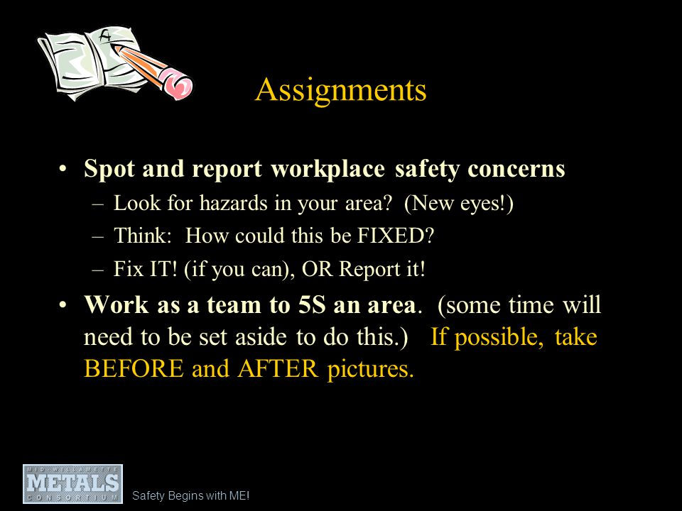Assignments Spot and report workplace safety concerns