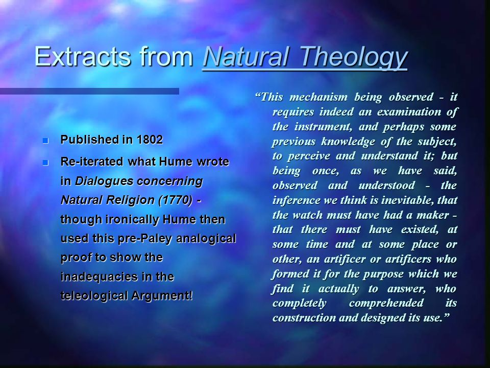 Extracts from Natural Theology