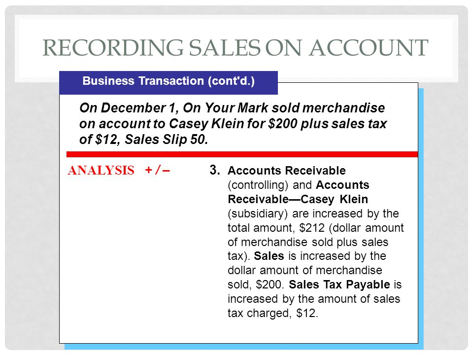 Recording sales on account
