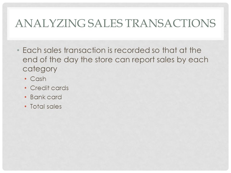 Analyzing Sales Transactions