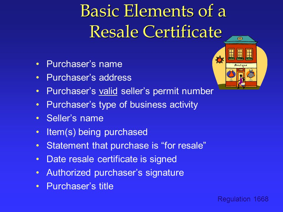 Basic Elements of a Resale Certificate