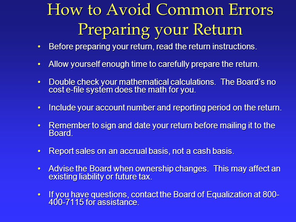 How to Avoid Common Errors Preparing your Return