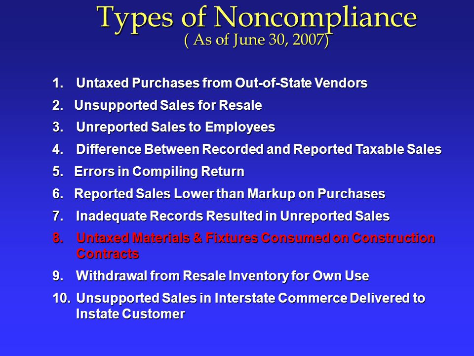 Types of Noncompliance ( As of June 30, 2007)
