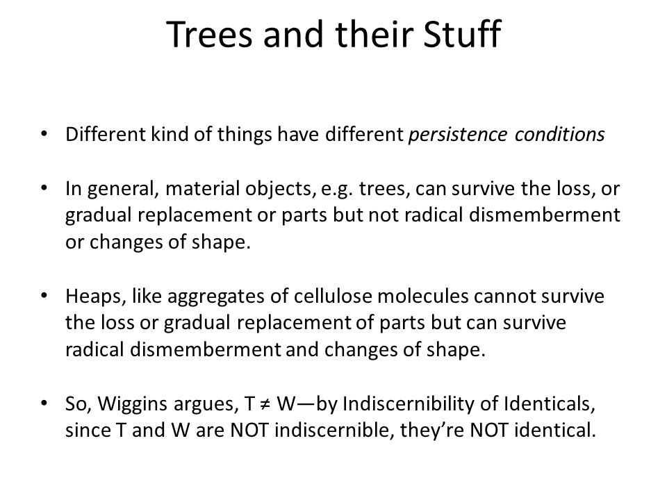 Trees and their Stuff Different kind of things have different persistence conditions.