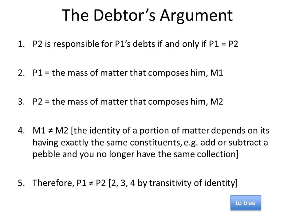 The Debtor's Argument P2 is responsible for P1's debts if and only if P1 = P2. P1 = the mass of matter that composes him, M1.