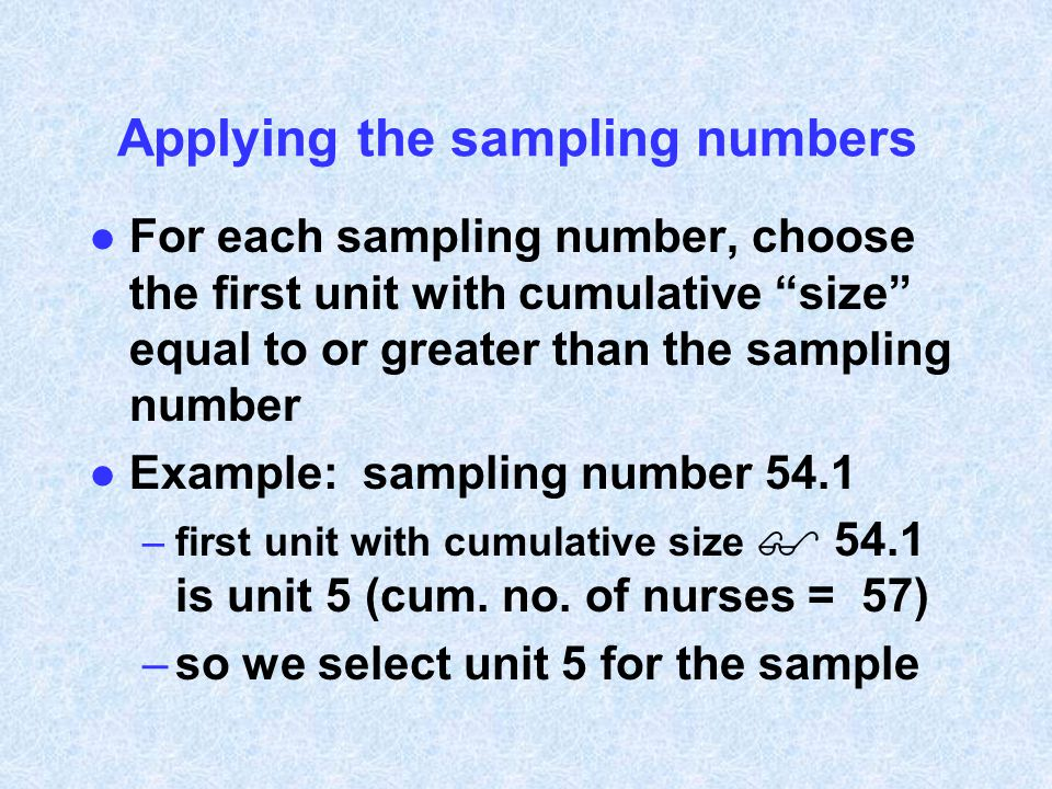 Applying the sampling numbers