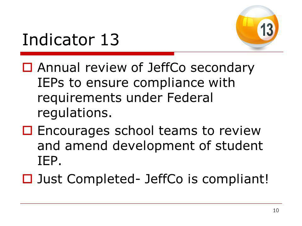 Indicator 13 Annual review of JeffCo secondary IEPs to ensure compliance with requirements under Federal regulations.