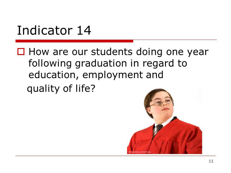 Indicator 14 How are our students doing one year following graduation in regard to education, employment and.