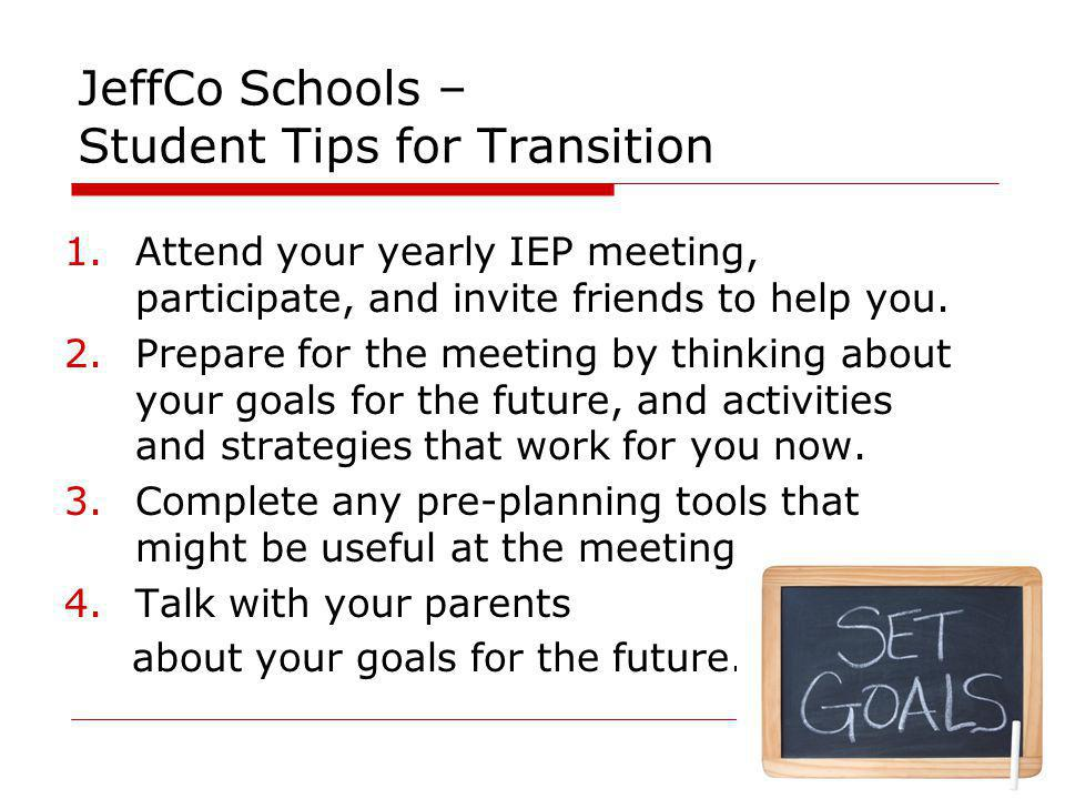 JeffCo Schools – Student Tips for Transition
