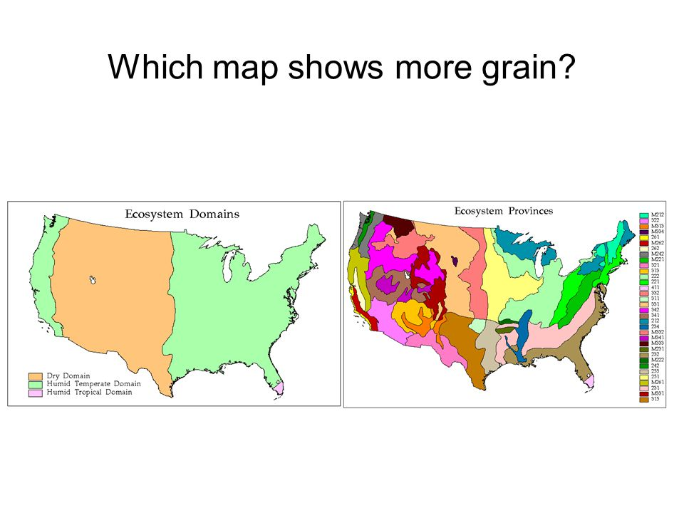 Which map shows more grain