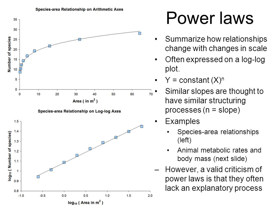 Power laws Summarize how relationships change with changes in scale