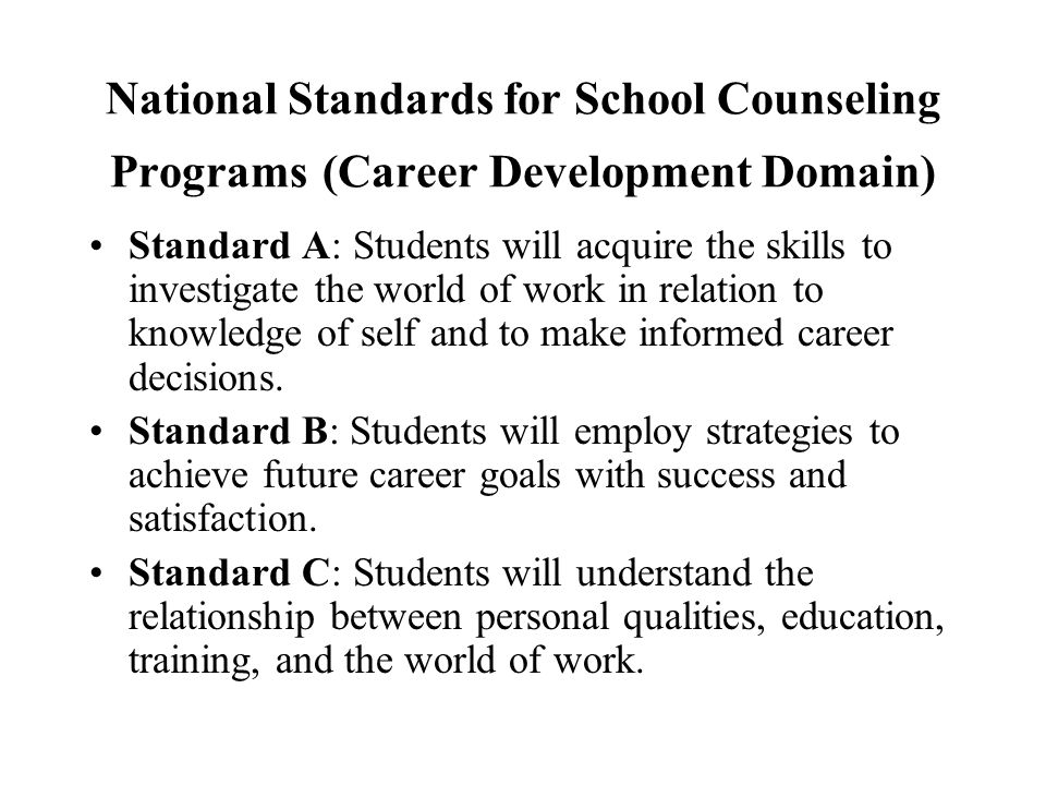 National Standards for School Counseling Programs (Career Development Domain)