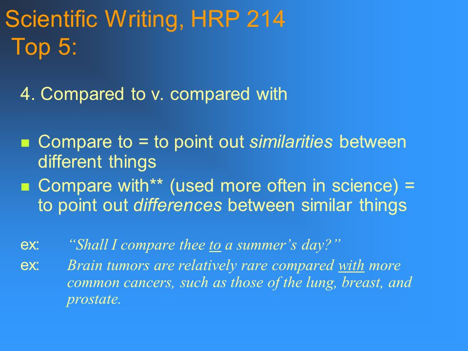 Scientific Writing, HRP 214 Top 5: